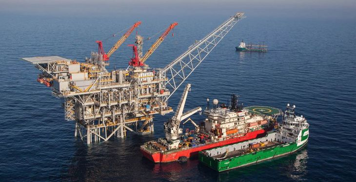MEDITERRANEAN SEA, ISRAEL - FEBRUARY 2013:  In this handout image provided by Albatross, The Tamar drilling natural gas production platform is seen some 25 kilometers West of the Ashkelon shore in February 2013 in Israel. The offshore Tamar drilling site which was originally dispatched from a shipyard in Texas at the end of last year is due to start producing natural gas next week. Over the past few years Israel has suffered from a shortage in natural gas, but with the new platform that weighs 34,000 tons and will be mainly operated by Israelis, the US company Nobel Energy which owns a 36% stake in Tamar, hopes to change Israel's energy situation as well as the economy as a whole.  (Photo Photo by Albatross via Getty Images)